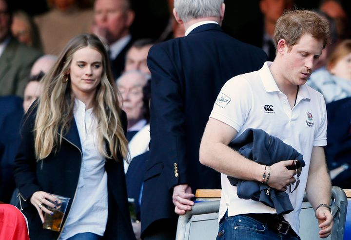 Cressida Bonas and Prince Harry attending a rugby match in London on March 9, 2014.