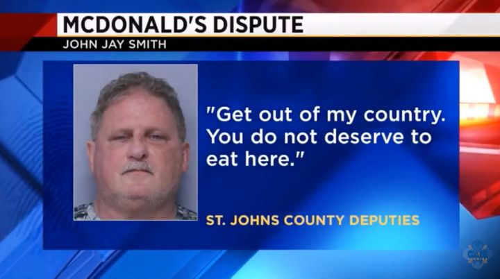 John Jay Smith, 60, faces multiple felony charges for threatening Muslim students with weapons while they were eating outside