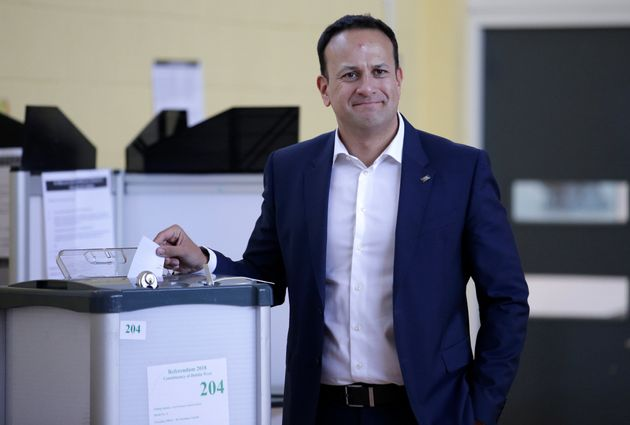 Irish Taoiseach Leo Varadkar votes as Ireland holds a referendum on liberalizing its law on