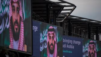 LONDON, ENGLAND - MARCH 07:  Electronic billboards show adverts for Saudi Crown Prince Mohammed bin Salman with the hashtag '#ANewSaudiArabia' next to the A4 West Cromwell Road on March 7, 2018 in London, England. Saudi Crown Prince Mohammed bin Salman has made wide-ranging changes at home supporting a more liberal Islam. Whilst visiting the UK he will meet with several members of the Royal family and the Prime Minister.  (Photo by Chris J Ratcliffe/Getty Images)