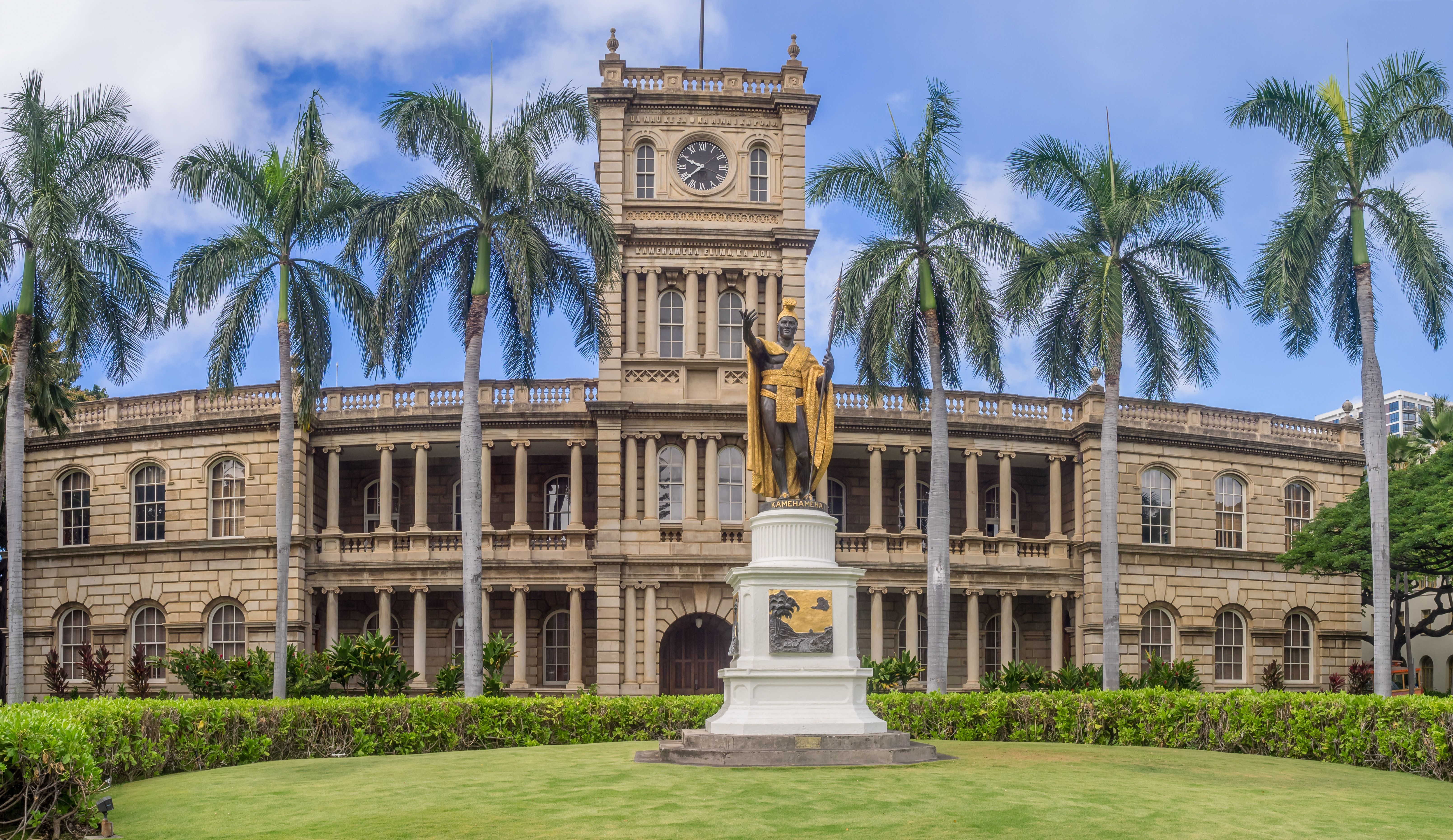Honolulu, USA - August 6, 2016: King Kamehameha I Statue, by Thomas Gould, on August 6, 2016 in Honolulu, Hawaii. It is in front of Ali iolani Hale, the Hawaii Supreme Court Building on King Street in Honolulu.