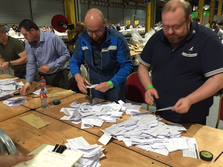 Votes are counted at the Royal Dublin Society