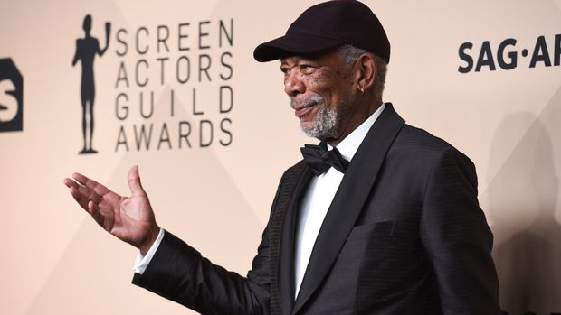 LOS ANGELES, CA - JANUARY 21:  Morgan Freeman attends 24th Annual Screen Actors Guild Awards - Press Room on January 21, 2018 in Los Angeles, California.  (Photo by Presley Ann/Patrick McMullan via Getty Images)