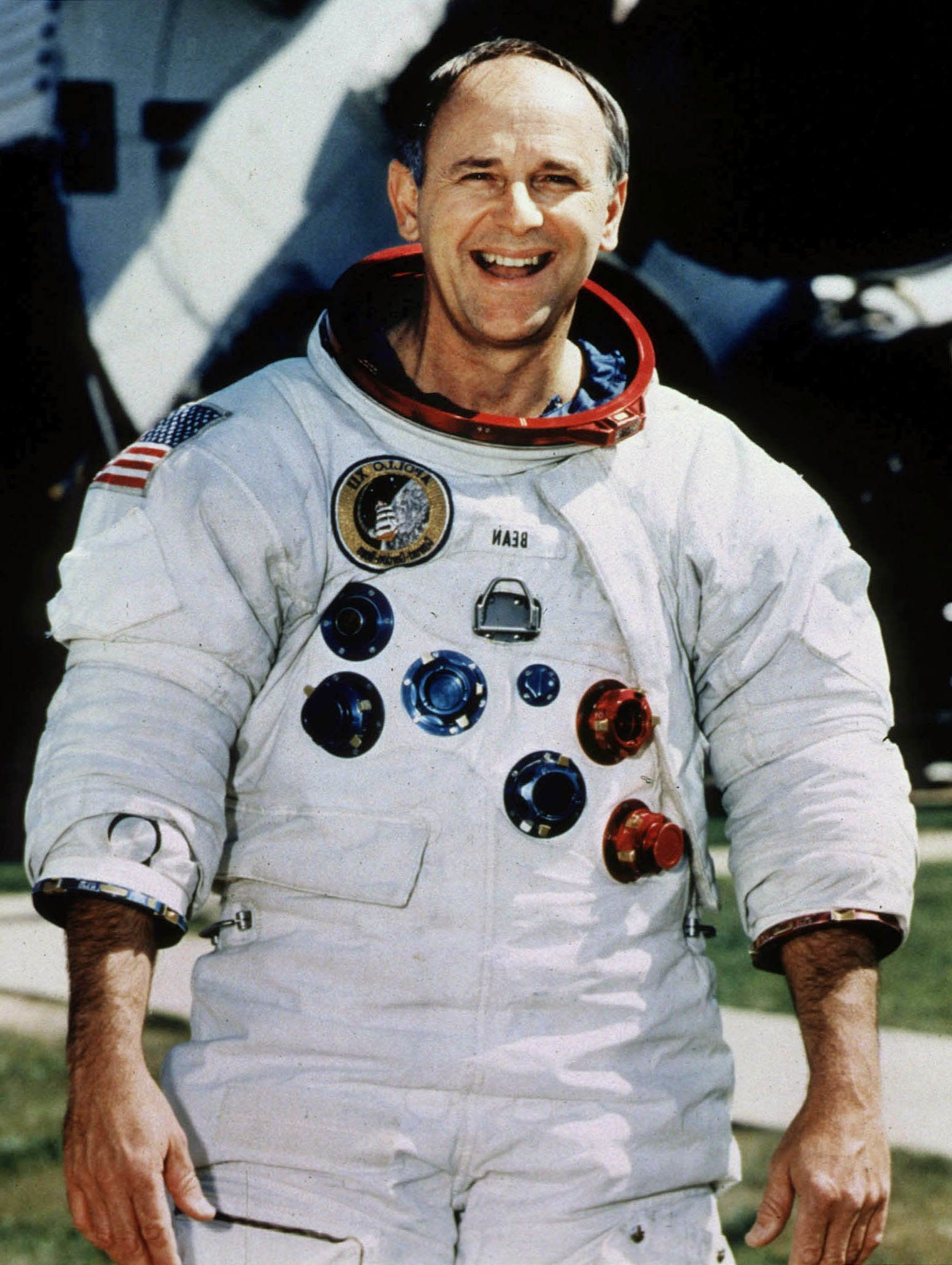 Retired Astronaut Alan Bean, 66, poses for a portrait in his spacesuit at the Johnson Space Center in Houston in this undated photo. Bean, who was the fourth man to walk on the moon in 1969, left NASA in 1981 and made a successful transition from spaceman to a full-time professional artist.