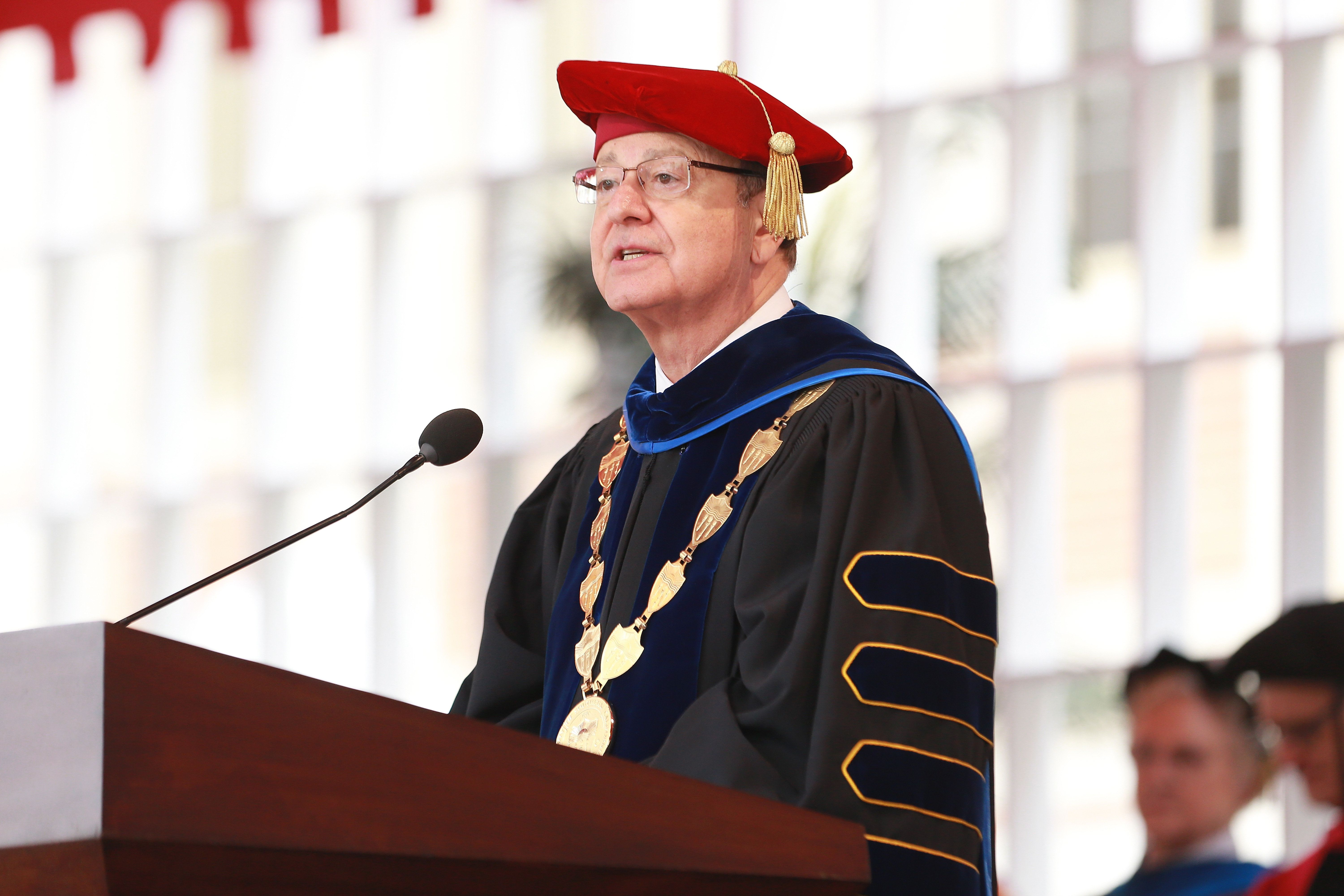 USC president C.L. Max Nikias at the school's commencement ceremony on May 11.