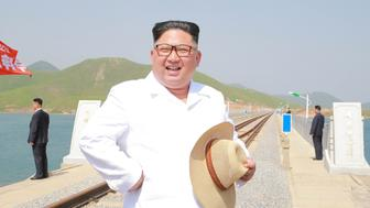 North Korean leader Kim Jong Un inspects the completed railway that connects Koam and Dapchon, in this undated photo released by North Korea's Korean Central News Agency (KCNA) in Pyongyang May 24, 2018. KCNA/via REUTERS ATTENTION EDITORS - THIS PICTURE WAS PROVIDED BY A THIRD PARTY. REUTERS IS UNABLE TO INDEPENDENTLY VERIFY THE AUTHENTICITY, CONTENT, LOCATION OR DATE OF THIS IMAGE. NO THIRD PARTY SALES. SOUTH KOREA OUT.