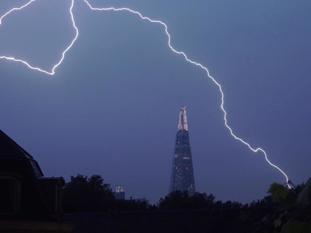 The mother of all thunderstorms: London illuminated by 'intense' lightning