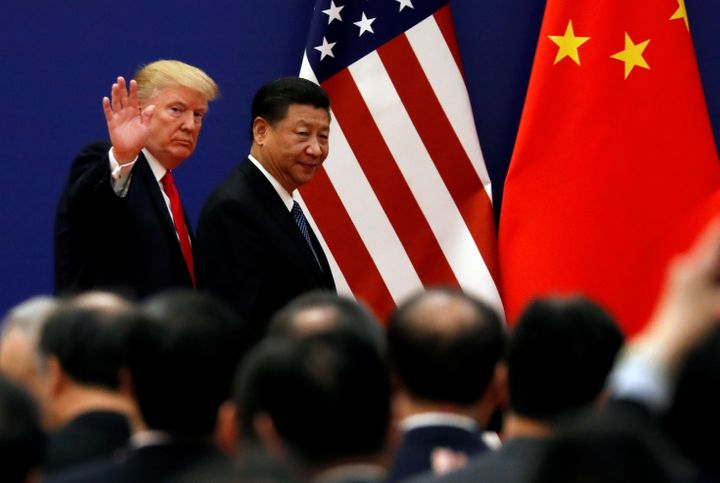 U.S. President Donald Trump and China's President Xi Jinping at the Great Hall of the People in Beijing, China, November 9, 2