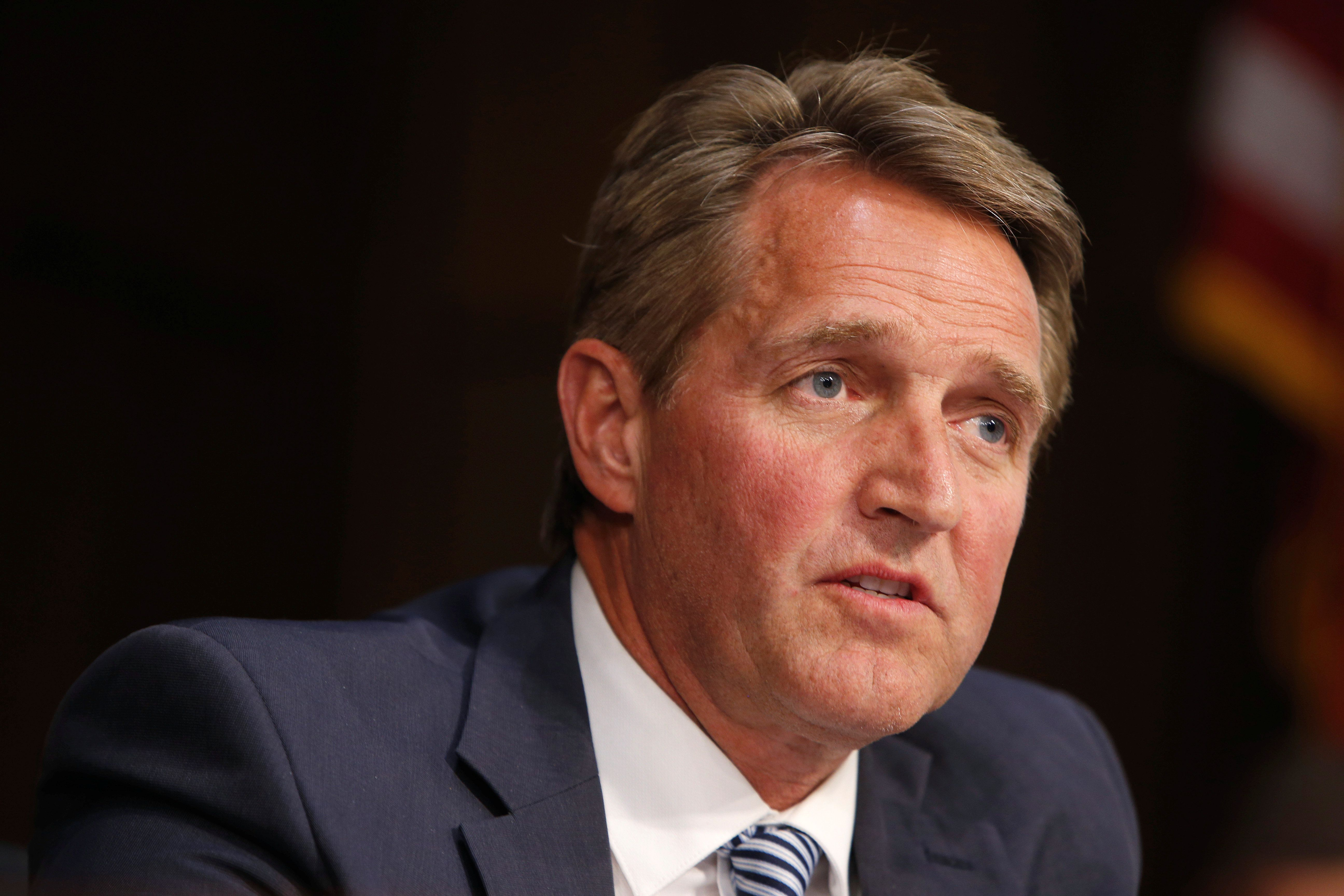 Senator Jeff Flake (R-AZ) questions Supreme Court nominee judge Neil Gorsuch during his Senate Judiciary Committee confirmation hearing on Capitol Hill in Washington, U.S., March 21, 2017.      REUTERS/Joshua Roberts
