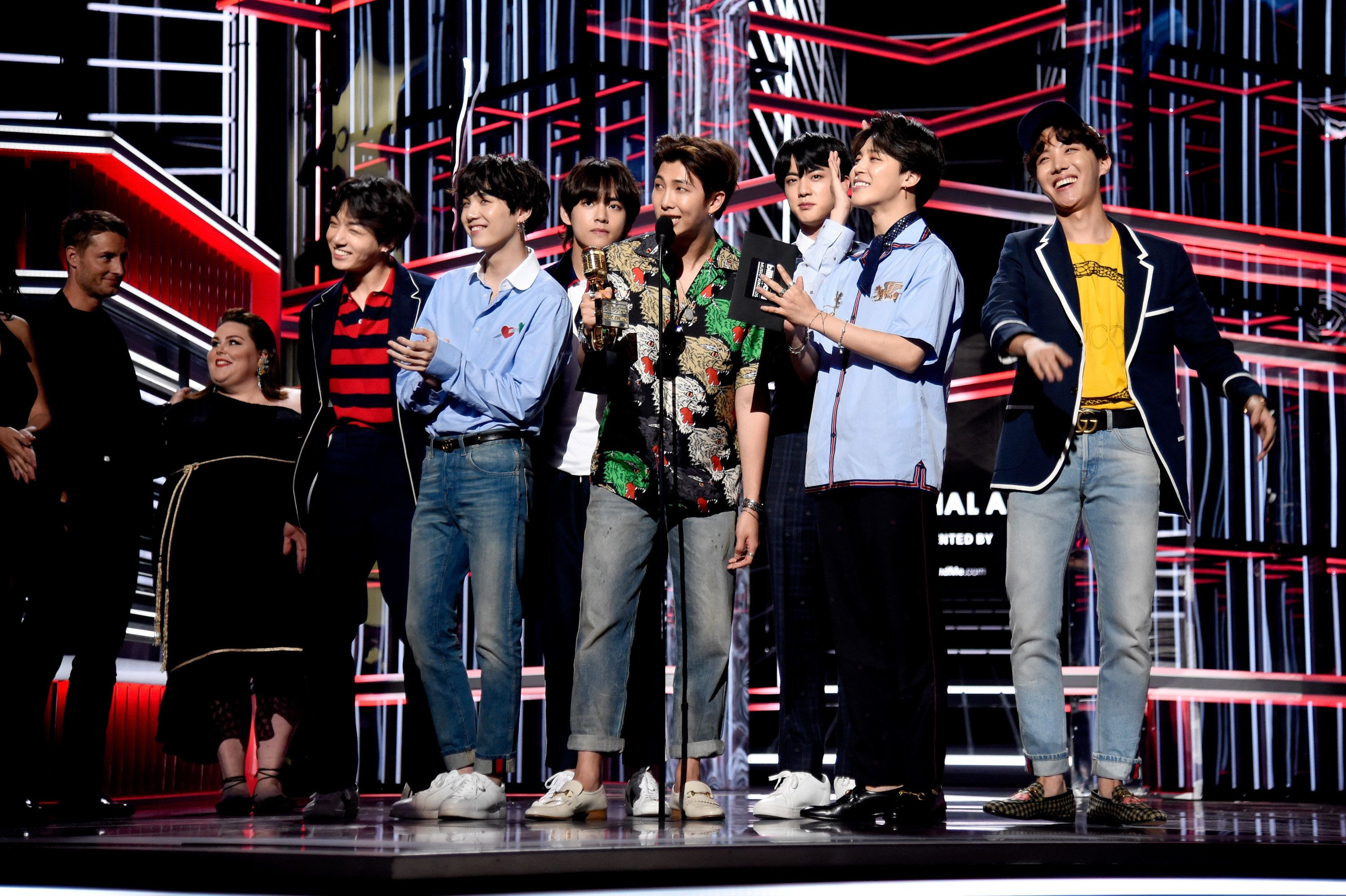 LAS VEGAS, NV - MAY 20:  Musical group BTS accepts Top Social Artist onstage at the 2018 Billboard Music Awards at MGM Grand Garden Arena on May 20, 2018 in Las Vegas, Nevada.  (Photo by Kevin Mazur/WireImage)