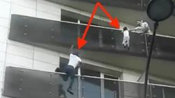 Real-Life Spider-Man Scrambles Up Building To Save A Dangling