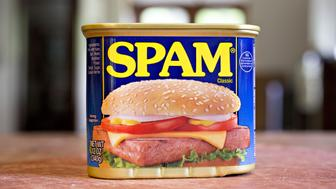 A can of Hormel Foods Corp. Spam brand cooked meat is arranged for a photograph in Tiskilwa, Illinois, U.S., on Thursday, May 17, 2018. Hormel is scheduled to release earnings figures on May 24. Photographer: Daniel Acker/Bloomberg via Getty Images