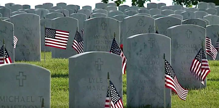The nonprofit organization Flags for Fort Snelling raised more than 235000 to place a flag at every headstone in Fort Snelling National Cemetery in Minnesota for Memorial Day