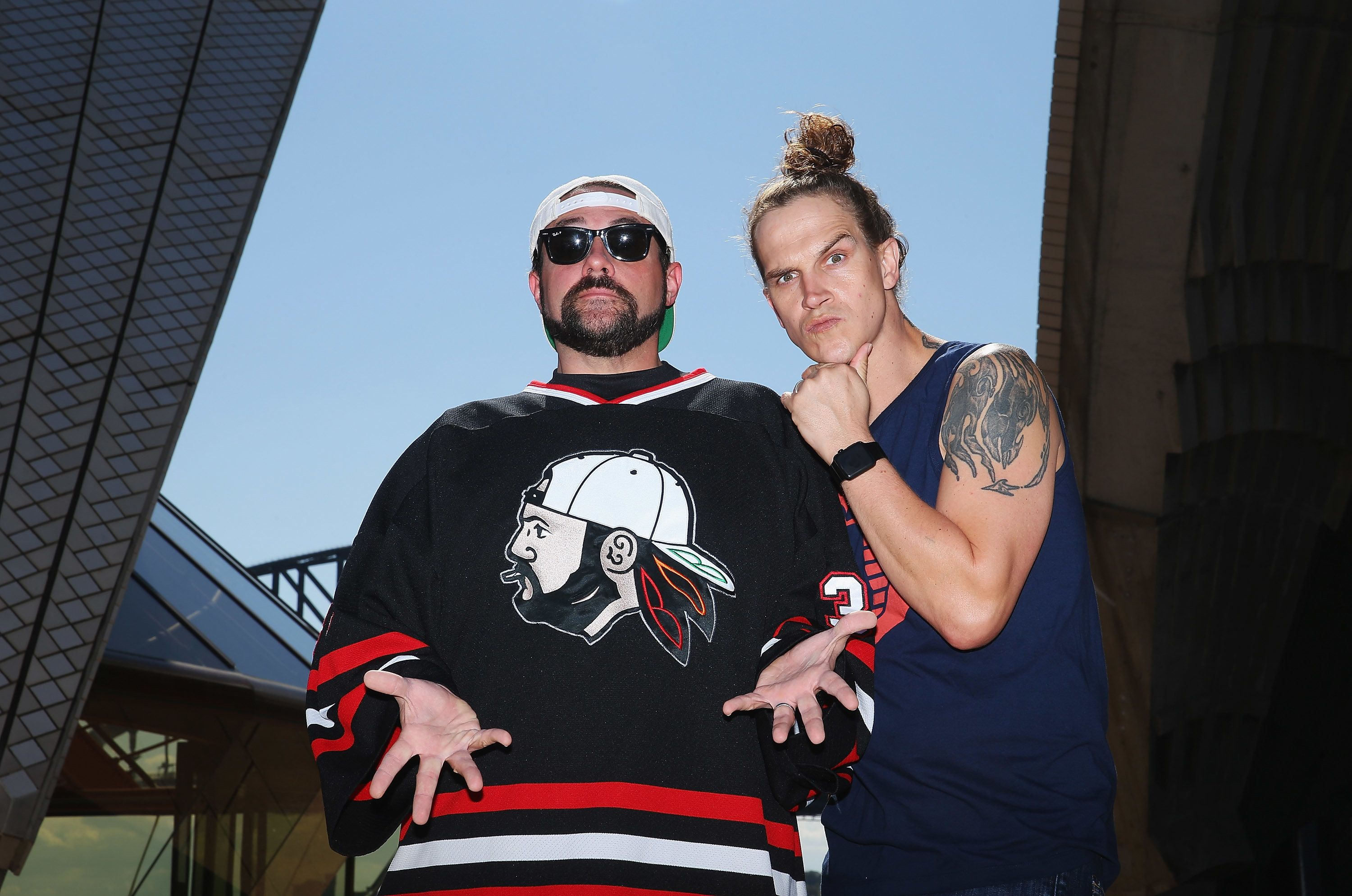 SYDNEY, AUSTRALIA - SEPTEMBER 18:  Kevin Smith and Jason Mewes (aka Jay and Silent Bob) pose during a media call at Sydney Opera House on September 18, 2015 in Sydney, Australia.  (Photo by Don Arnold/WireImage)