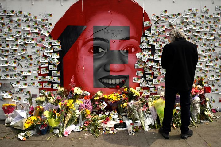 Visitors leave messages at a memorial to Savita Halappanavar in Dublin, Ireland, on May 27, 2018.