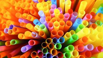 Beautiful of colorful striped drinking straw abstact background.