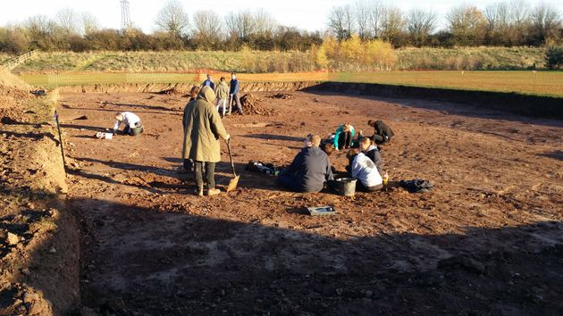 Worcester Sixth Form College A level students working at the Mab's Orchard Excavation in November