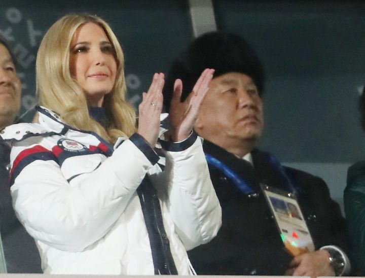 Ivanka Trump and Kim Yong Chol of the North Korea delegation attend the closing ceremony of the Pyeongchang Winter Olympics o