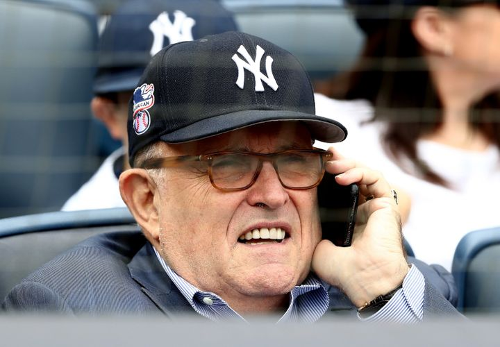 Rudy Giuliani at the Yankees game on Monday.