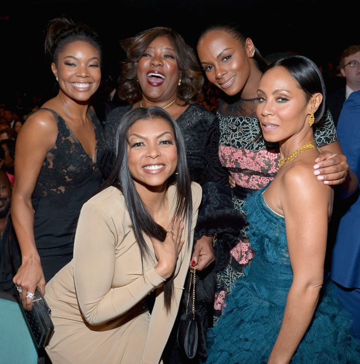 From left, Gabrielle Union, Taraji P. Henson, Loretta Devine, Tika Sumpter and Jada Pinkett Smith pose together at the 4