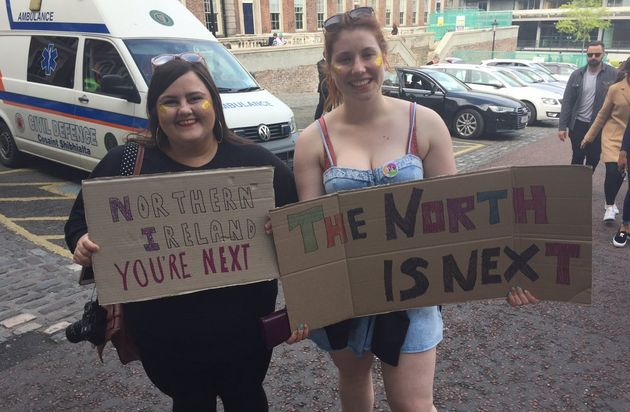 Campaigners at the abortion referendum in the Republic of Ireland on