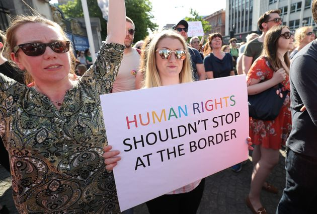Protesters at Belfast City Hall calling for the provision of abortion in Northern