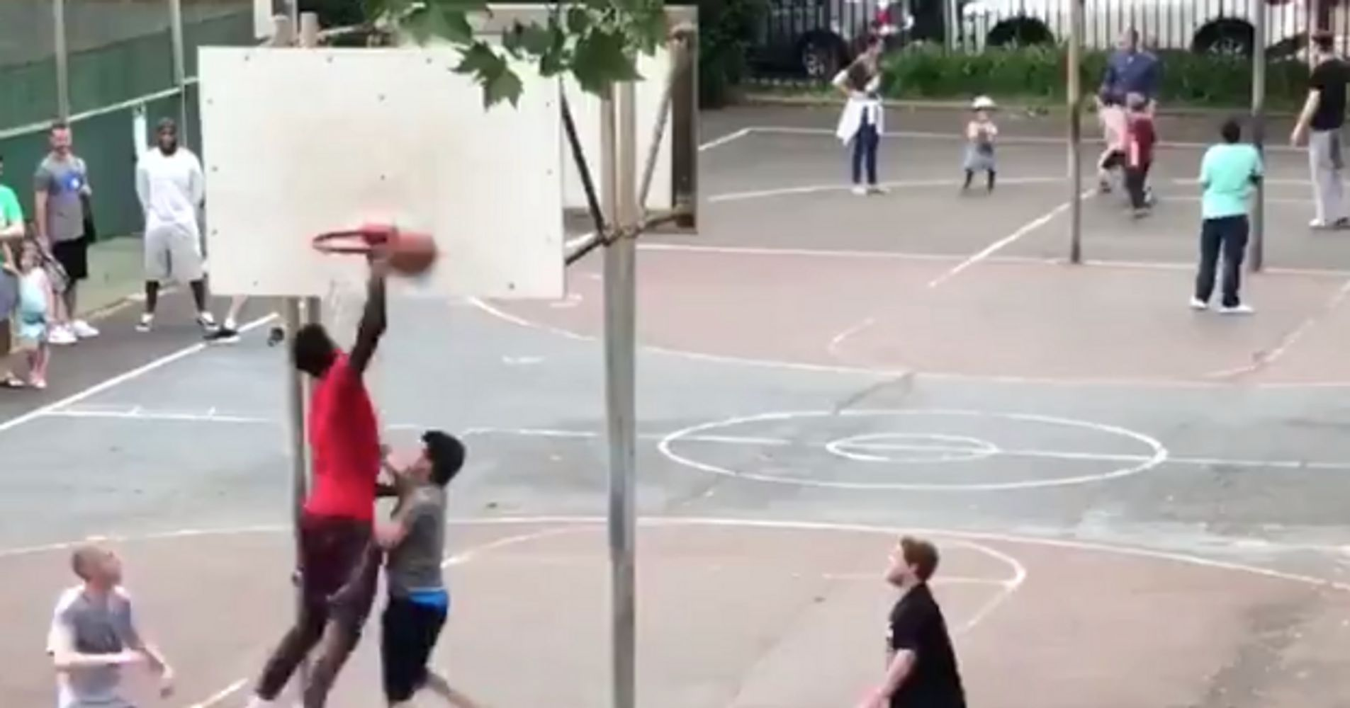9e28594ad 76ers Star Joel Embiid Dunks All Over Regular Joes In Pickup Game ...