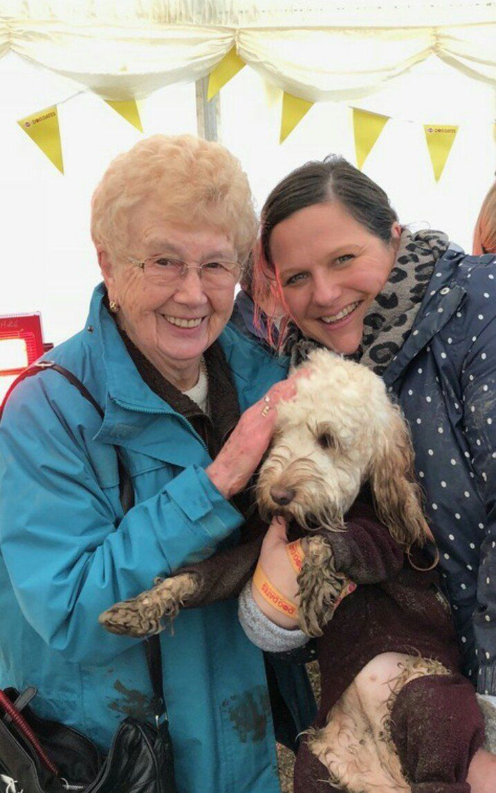Doreen (left) with Sarah (right) and her dog Lottie.