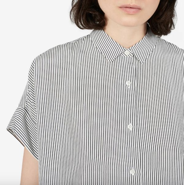 """Get it at <a href=""""https://www.everlane.com/products/womens-silk-square-shirt-whiteblack-stripe?collection=womens-tops"""" targe"""