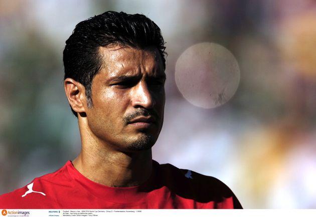 Le joueur iranien Ali Daei lorsdumatch entre l'Iran et le Mexique pendant la Coupe du monde...