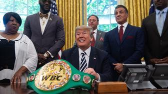 US President Donald Trump speaks before signing a posthumous pardon for former world champion boxer Jack Johnson in the Oval Office at the White House in Washington, DC, on May 24, 2018. - (Shown L-R) Linda Haywood, great-great niece of Jack Johnson,world champion heavyweight boxer  Deontay Wilder, Trump, Keith Frankel, CEO of VitaQuest International, actor Sylvester Stallone and former boxer Lennox Lewis. (Photo by NICHOLAS KAMM / AFP)        (Photo credit should read NICHOLAS KAMM/AFP/Getty Images)