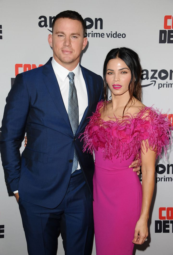 Channing Tatum and actress Jenna Dewan walk a red carpet together in August 2017.