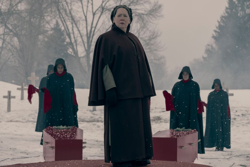 "Aunt Lydia, played by Ann Dowd, in ""The Handmaid's Tale."""
