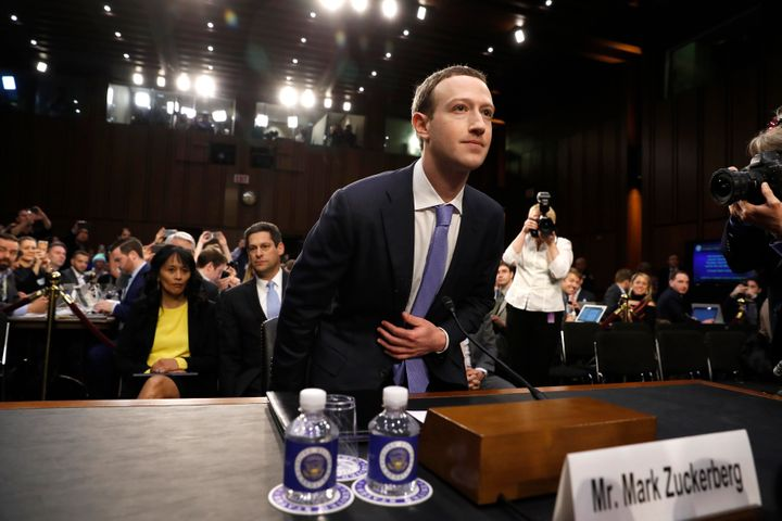 Facebook CEO Mark Zuckerberg arrives to testify before a Senate Judiciary and Commerce Committees joint hearing regarding the