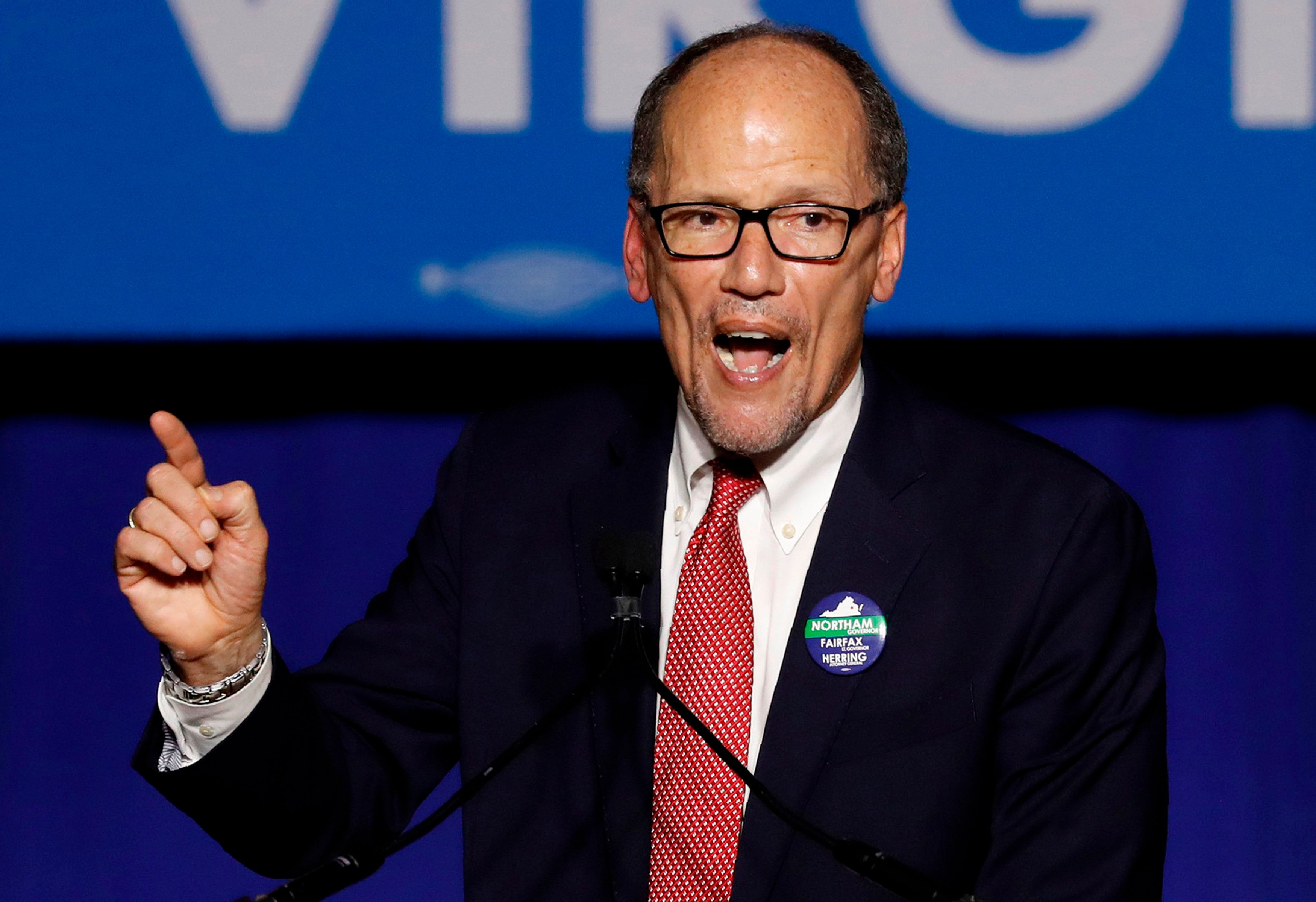 Democratic National Committee Chairman Tom Perez speaks at Ralph Northam's election night rally on the campus of George Mason University in Fairfax, Virginia, November 7, 2017. REUTERS/Aaron P. Bernstein