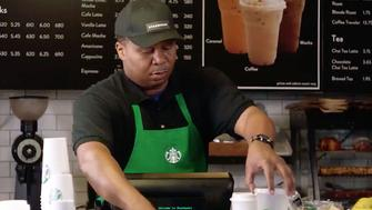 Roy Wood Jr of The Daily Show demonstrates how Starbucks employees should behave