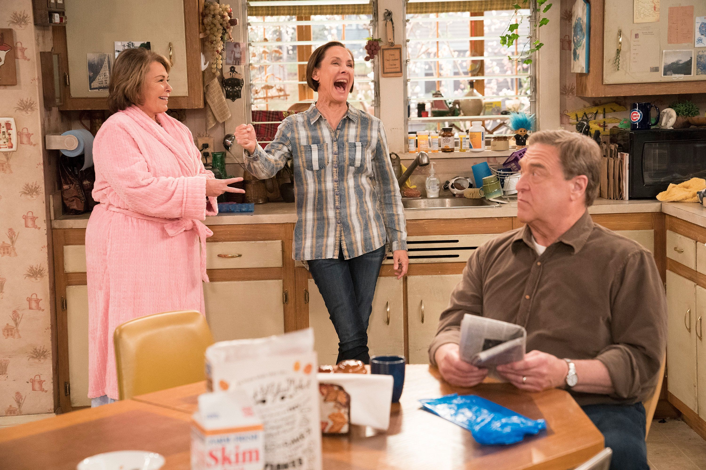 ROSEANNE - 'No Country for Old Women' - After Beverly gets kicked out of the nursing home, Roseanne and Jackie fight over who will take care of their mother. Meanwhile, Mark's creative touch with building a birdhouse for Dan's customer is more than Dan can handle, but Darlene defends her son, on the sixth episode of the revival of 'Roseanne,' TUESDAY, MAY 1 (8:00-8:30 p.m. EDT), on The ABC Television Network. (Greg Gayne/ABC via Getty Images) ROSEANNE BARR, LAURIE METCALF, JOHN GOODMAN