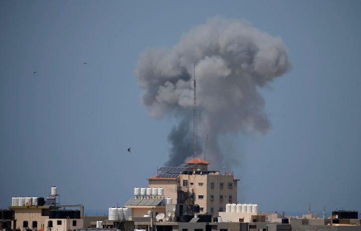 Smoke rises following an Israeli airstrike in Gazaon May 29, 2018.