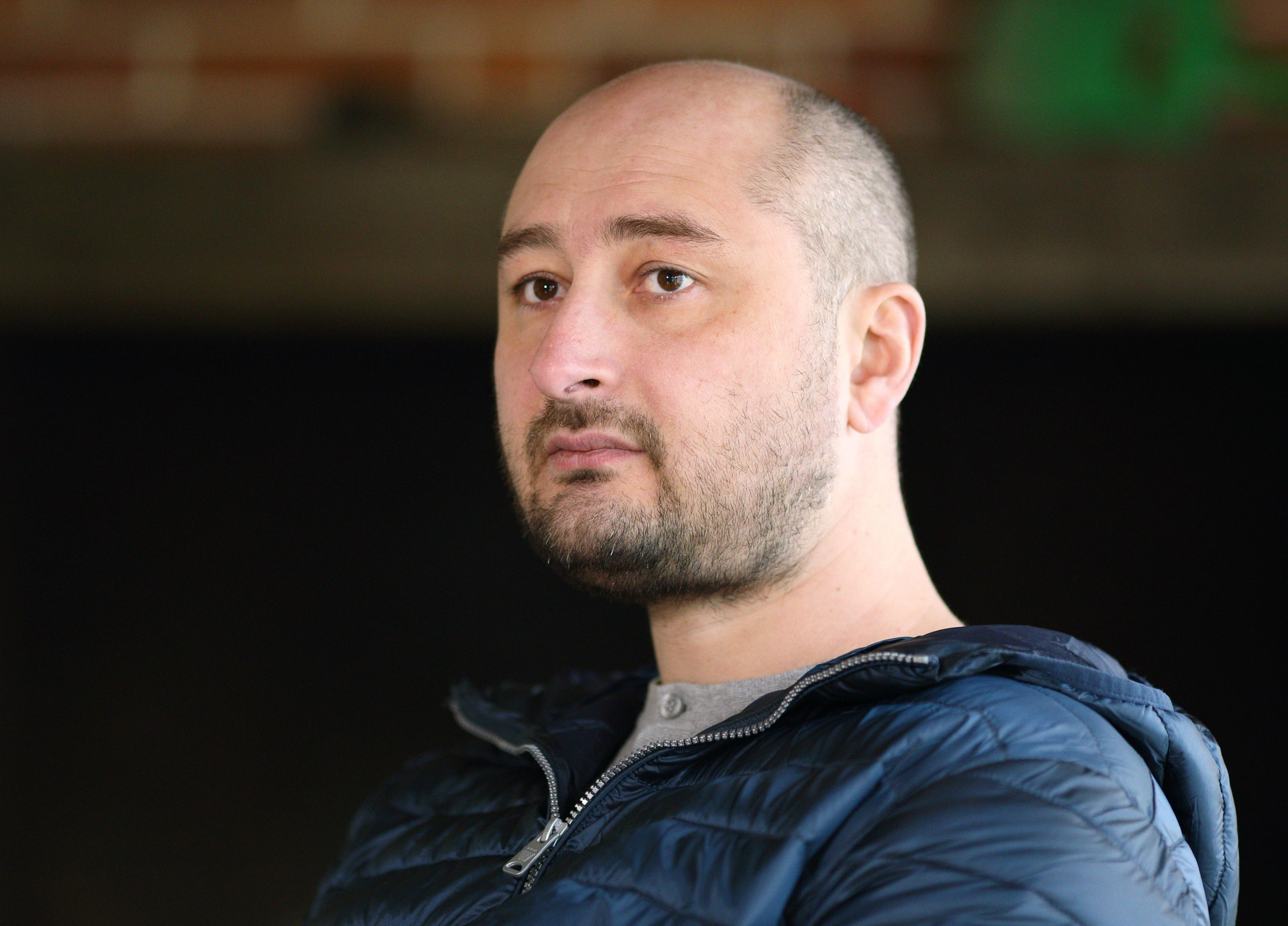 A file picture provided on May 29, 2018 shows Russian journalist Arkadiy Babchenko on November 14, 2017 in Kiev. - A Russian journalist who wrote for opposition media was shot dead on May 28, 2018 in Kiev, Ukrainian police said. Arkadi Babchenko was shot in his apartment building in the Ukrainian capital. (Photo by Vitaliy NOSACH / AFP)        (Photo credit should read VITALIY NOSACH/AFP/Getty Images)