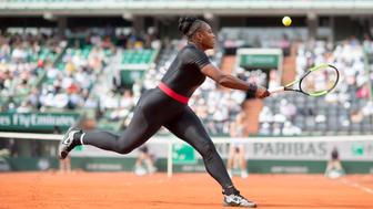 PARIS, FRANCE. French Open Tennis Tournament - Day Three.  Serena Williams of the United States in action against Kristyna Pliskova of the Czech Republic on Court Philippe-Chatrier in the Women's Singles Competition at the 2018 French Open Tennis Tournament at Roland Garros on May 29th 2018 in Paris, France.  (Photo by Tim Clayton/Corbis via Getty Images)