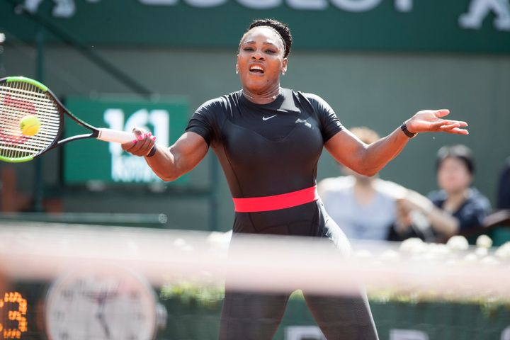 Serena Williams won her first-round match in straight sets.