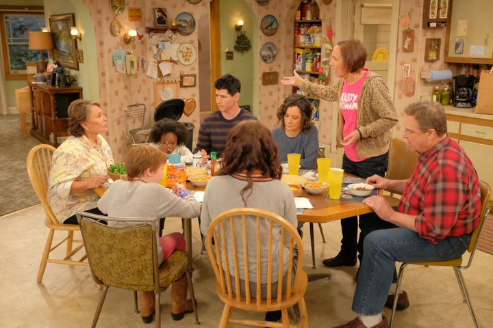 """Roseanne's sister, Jackie (Laurie Metcalf), shows up in a """"Nasty Woman"""" shirt on the """"Roseanne"""" Season 10 premiere."""