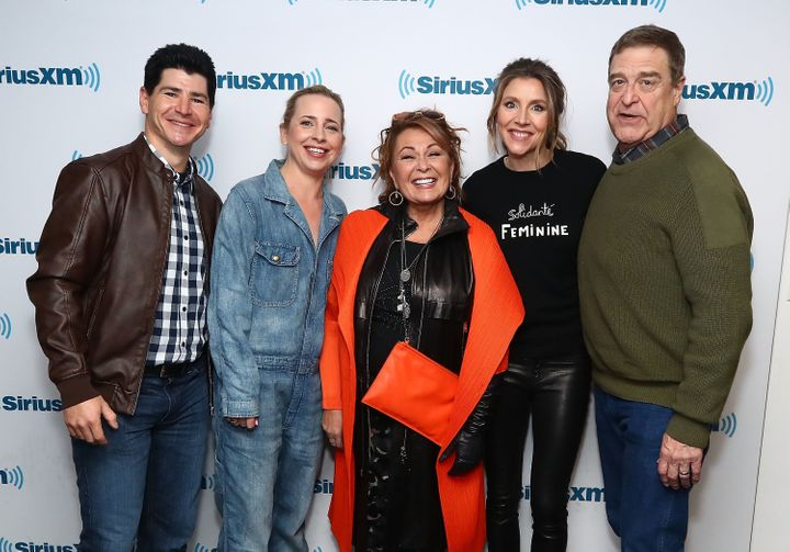 """Roseanne"" actors Michael Fishman, Lecy Goranson, Roseanne Barr, Sarah Chalke and John Goodman pose for photos during SiriusX"