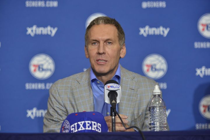 Bryan Colangelo, the Sixers' president of basketball operations, is accused of anonymously slamming his players on Twitter.