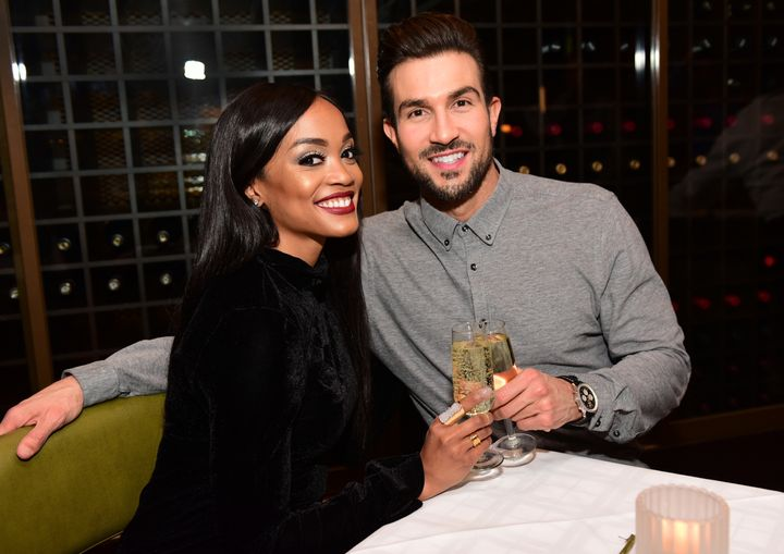 "Rachel Lindsay, the first black ""Bachelorette,"" with fiance Bryan Abasolo in April."