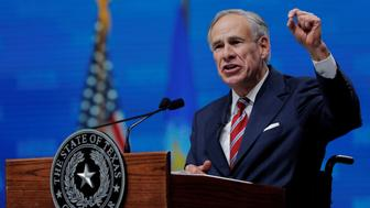 Texas Governor Greg Abbott speaks at the annual National Rifle Association (NRA) convention in Dallas, Texas, U.S., May 4, 2018. REUTERS/Lucas Jackson