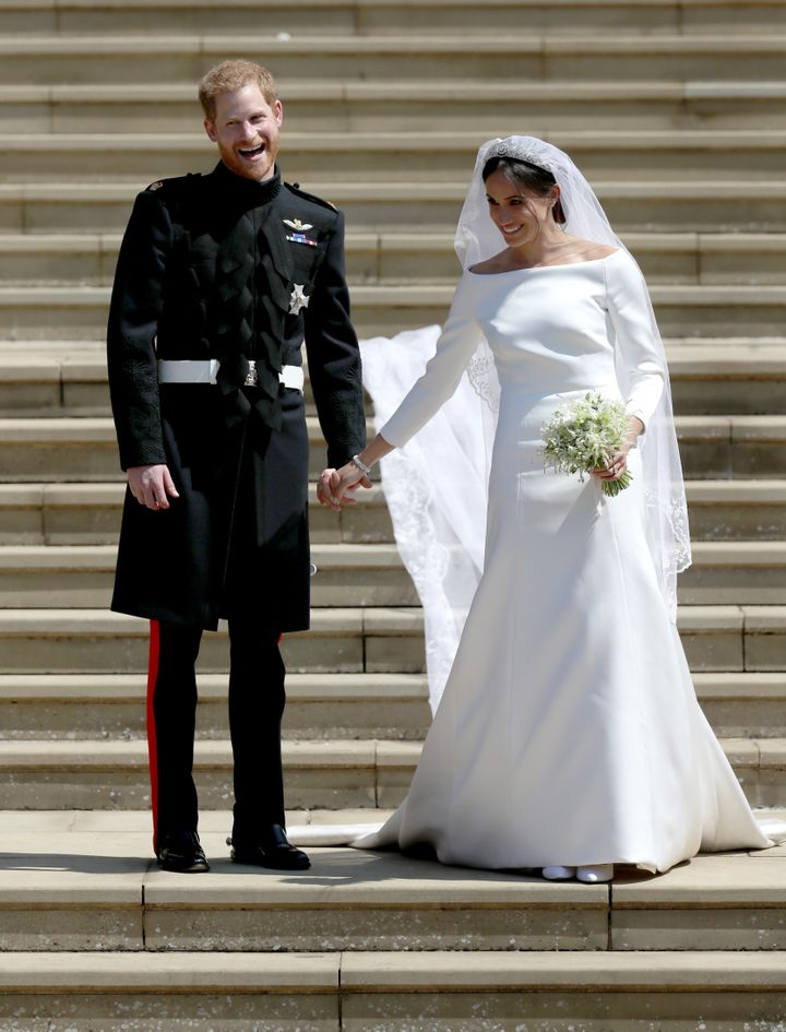 Prince Harry and Meghan Markleoutside St. George's Chapelat Windsor Castle in England after their wedding,