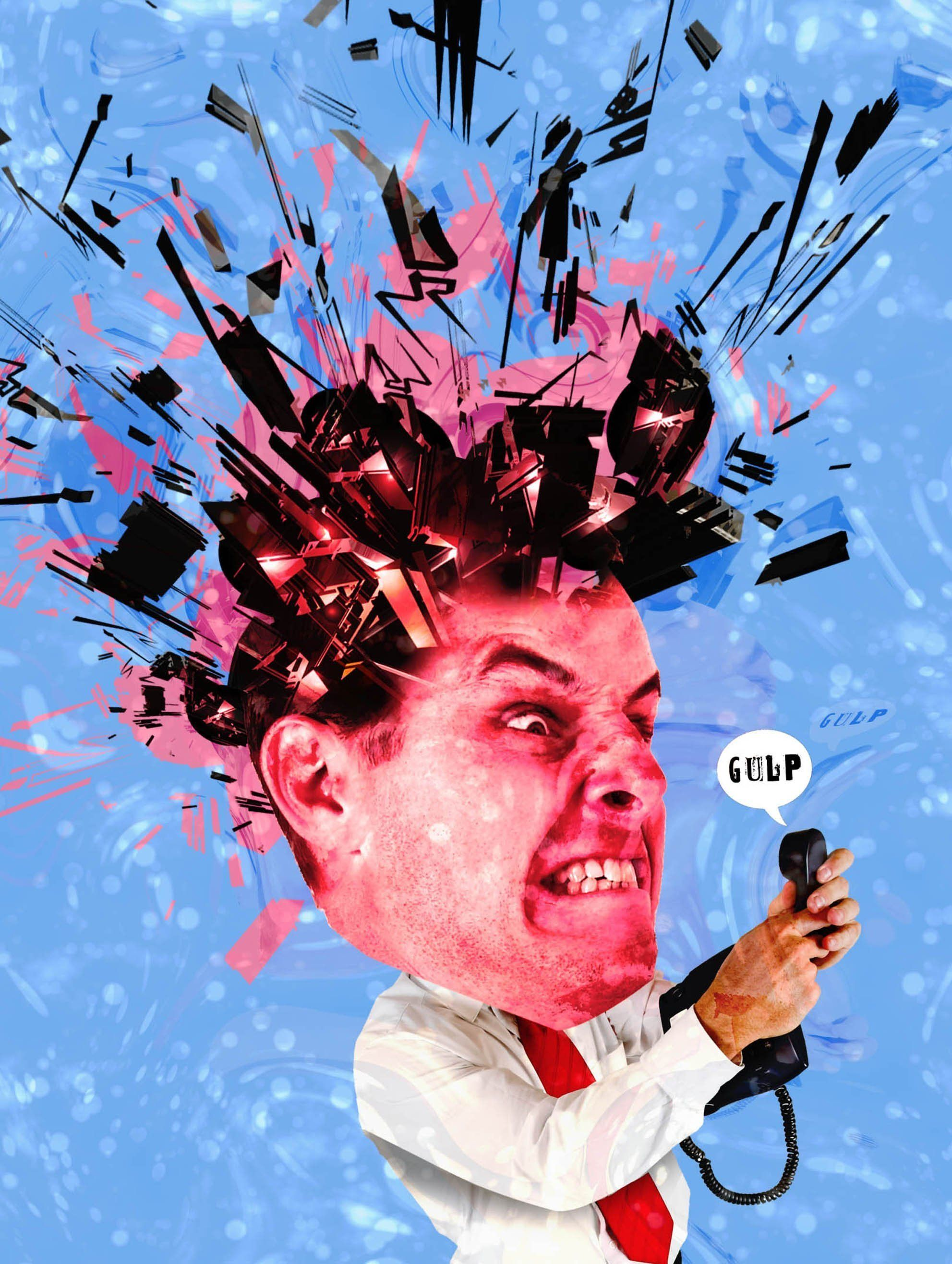 USA - 2013 300 dpi Rick Nease illustration of man being driven mad by robocalls. (The Detroit Free Press/MCT via Getty Images)