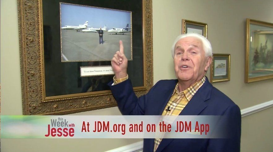 "Evangelist Jesse Duplantis asked listeners to ""pray about becoming a partner"" in his plan to buy a Dassault Falco"