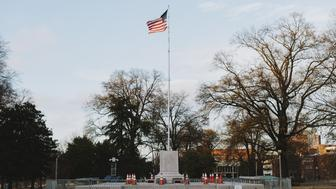 A pedestal, where the statue of General Nathan Bedford Forrest stood before it was removed, stands at a park in Memphis, Tennessee, U.S., on Thursday, Dec. 21, 2017. The City Council voted unanimously on Wednesday to sell two Memphis parks where Confederate statues were located. The parks were sold to Greenspace Inc. for $1,000 each, according to The Commercial Appeal. Photographer: Houston Cofield/Bloomberg via Getty Images